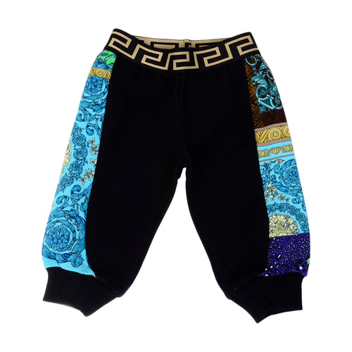 Black Patchwork Sweat Pants