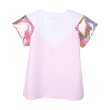 Load image into Gallery viewer, White & Pink Sequin Sleeve T-Shirt