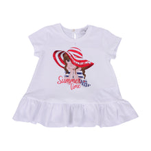 Load image into Gallery viewer, White & Red Stripe Girl T-Shirt