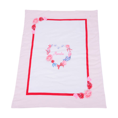 White & Pink Heart Blanket