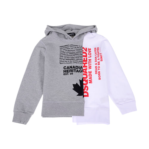 Grey & White Canadian Hooodie