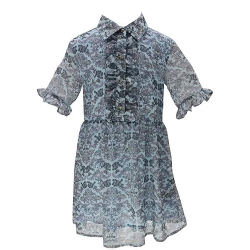 Blue Paisley Shirt Dress