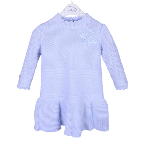 Blue Bow & Pearl Knitted Dress