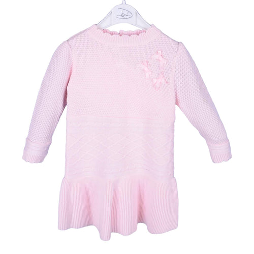 Pink Bow & Pearl Knitted Dress