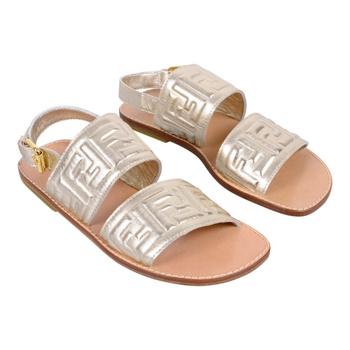 Gold FF Leather Sandals
