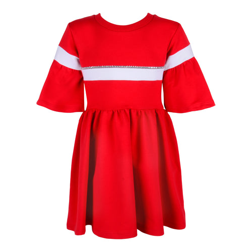Red Diamante Bell Sleeve Dress