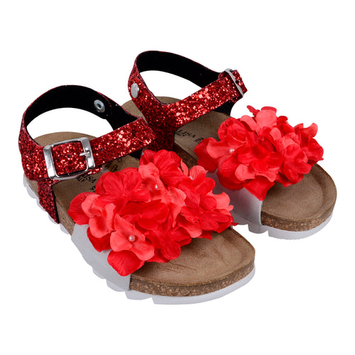 Red Glitter Flower Petal Sandal