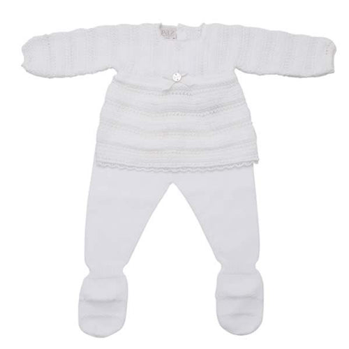 White Knitted 2 Piece Babygrow