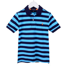 Load image into Gallery viewer, Navy & Blue Stripe Polo Shirt