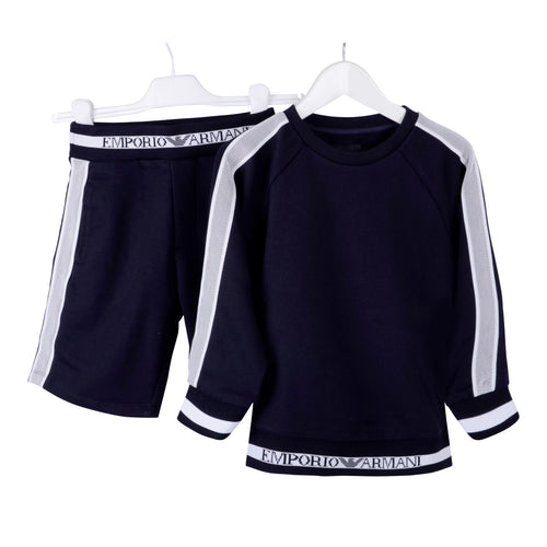 Boys Navy Sweat Top & Shorts