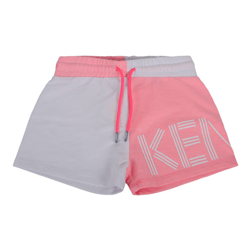 White & Neon Pink Sweat Short