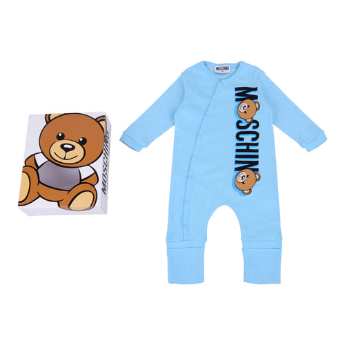 Moschino Baby Blue Footless Babygrow Gift Box