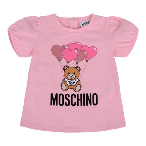 Moschino Girls Pale Pink Heart Toy T-Shirt