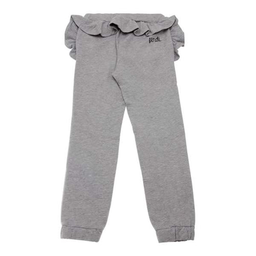 Fendi Girls Grey Ruffle Sweat Pants