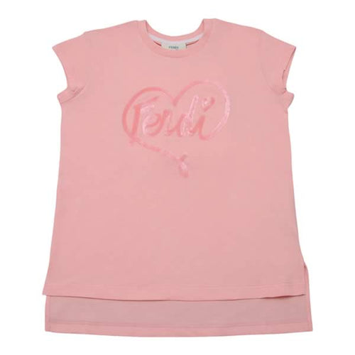 Fendi Girls Pink Heart Sequin T-Shirt