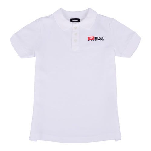 White Rubber Logo Polo Shirt