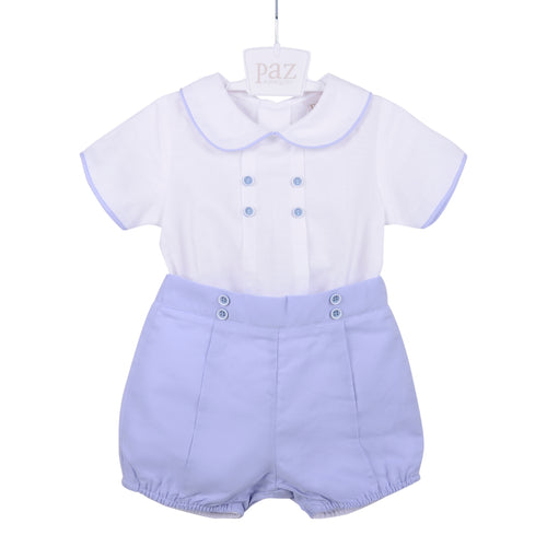 White & Blue Short and Shirt Set