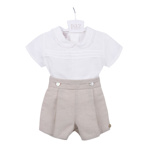 Beige Shirt & Shorts Set
