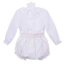 Load image into Gallery viewer, White and Pink Detailing Shirt & Shorts Set