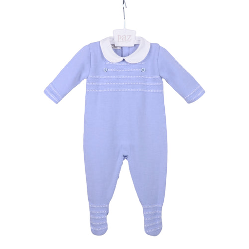 Blue Cloud Knitted Babygrow