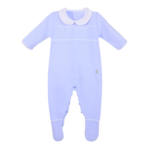 Chalk Blue Knitted Babygrow