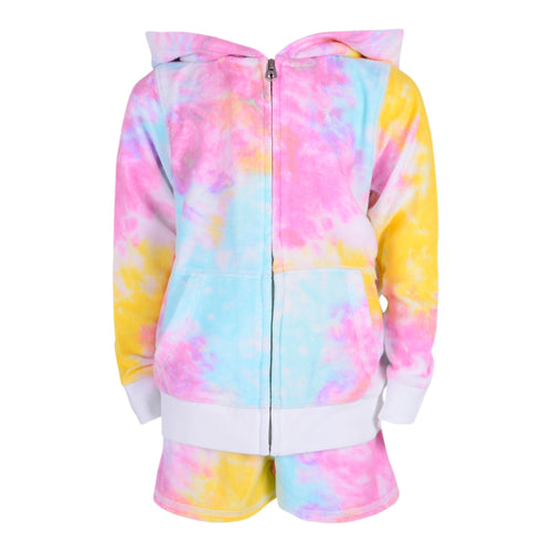 Tie Dye Zip Up Shorts Set