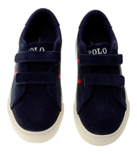 Load image into Gallery viewer, Navy 'Geoff Ez' Velcro Trainer