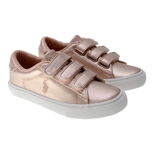 Metallic Pink Velcro Trainers
