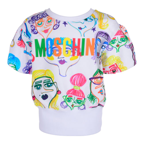 White Moschino Faces Sweat Top