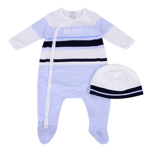 White & Blue Babygrow & Hat Gift Set