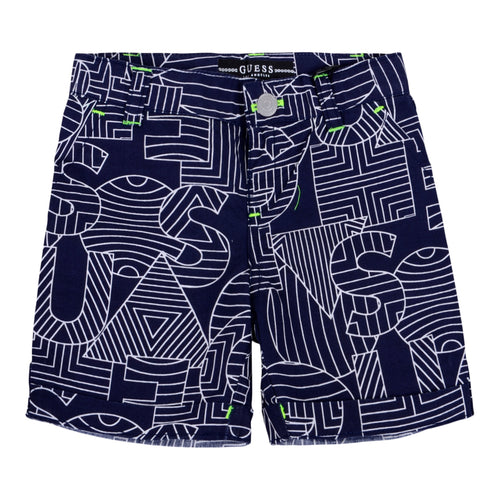 Navy Geometric Print Shorts