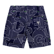 Load image into Gallery viewer, Navy Geometric Print Shorts