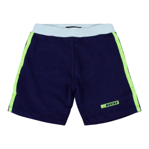 Navy & Neon Green Stripe Shorts