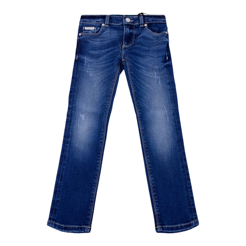 Blue Distressed Boys Skinny Fit Jeans