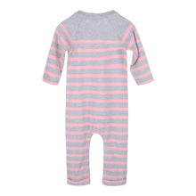 Load image into Gallery viewer, Grey & Pink Striped Babysuit