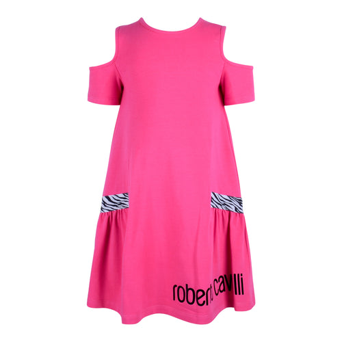 Roberto Cavalli Girls Pink Off Shoulder Dress