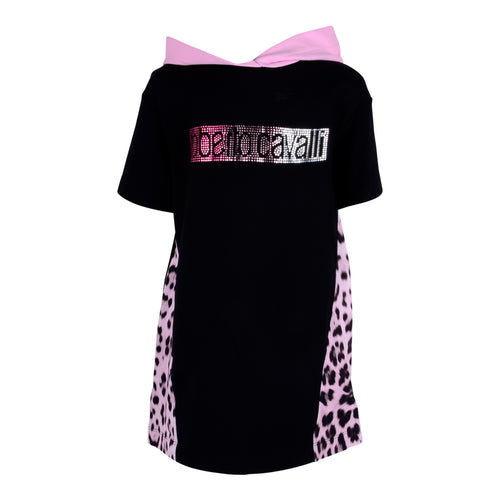 Roberto Cavalli Girls Black Diamante Hoodie Dress