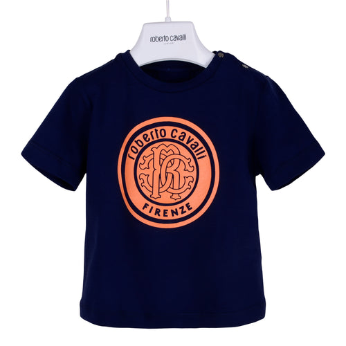 Roberto Cavalli Baby Boys Navy & Orange Logo T-Shirt