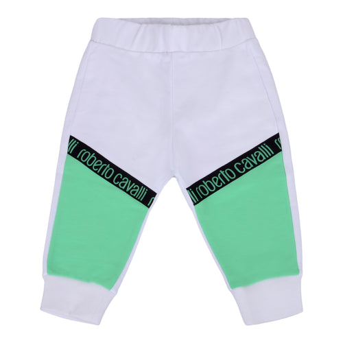 Roberto Cavalli Baby Boys White & Green Sweat Pants