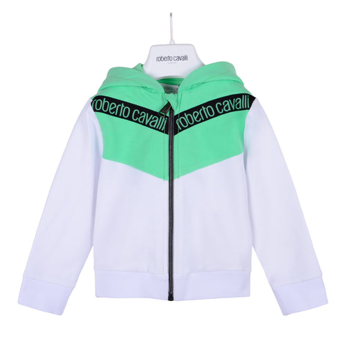 Roberto Cavalli Baby Boys White & Green Zip Up