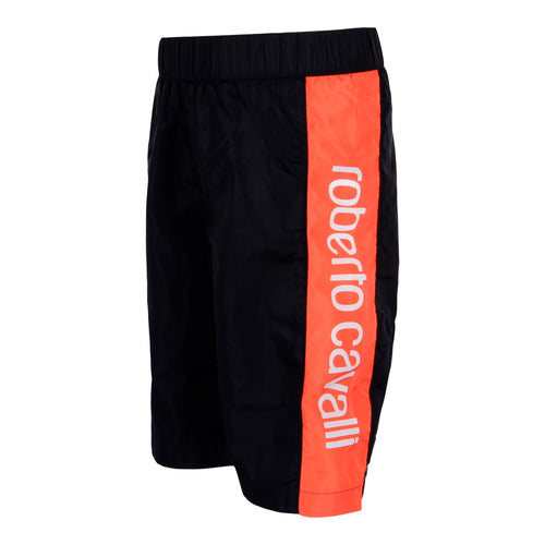 Roberto Cavalli Boys Black & Orange Swim Shorts