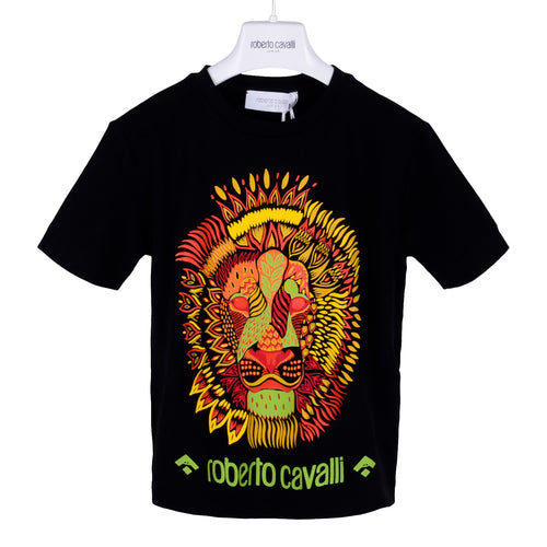 Roberto Cavalli Boys Black Lion Print T-Shirt