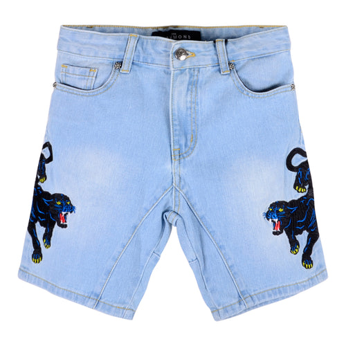 Sky Blue Denim Tiger Shorts