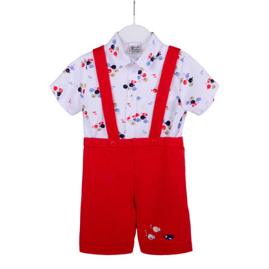 Red Dungaree & Shirt Set