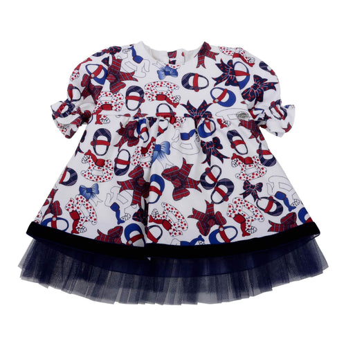 Byblos Baby Girls Sale Ivory & Navy Bow Dress