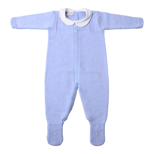 Pale Blue Knit Babygrow