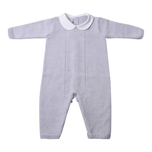 Grey Knitted Footless Babygrow