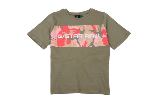 Girls Khaki & Pink Camo T-Shirt