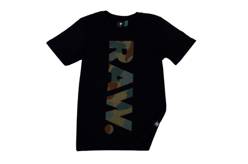 Black 'Raw' Camo T-Shirt