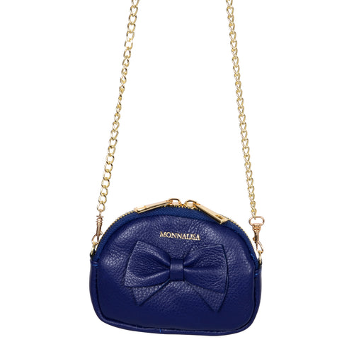 Navy Leather Purse Bag